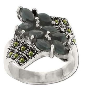 Sterling Silver Genuine 12 Marcasite and 8 Onyx Stone Ring