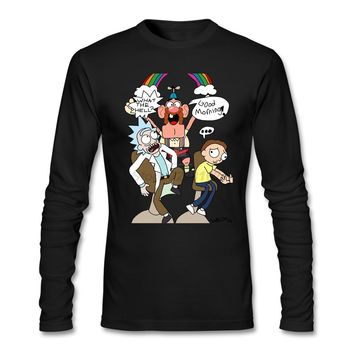 Rick and Morty and Uncle Grandpa t shirt man making Purple rock and roll t-shirts with  for males Online Long sleeved Clothing