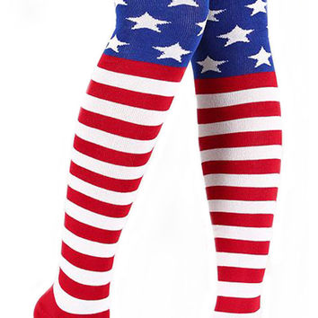 USA Flag Thigh High Socks Size Free