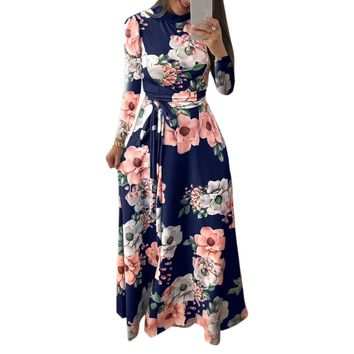Mixi Long Dress Casual Printed Floral Dress Boho Party Dress Women Turtleneck Winter Autumn Dresses Chic American Style M0188