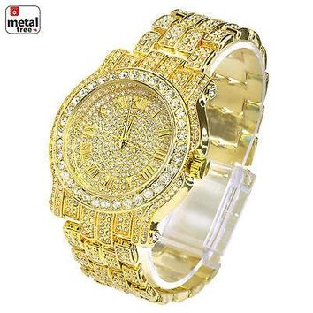Jewelry Kay style Men's Fashion Stainless Steel Back Iced Out Heavy Metal Band Watches WM 7341 G