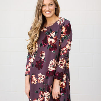 Falling For Floral Dress - Deep Purple