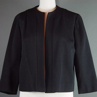 60s Black Blazer Suit Jacket Vintage 1960s Double Knit Coat Worsted Wool