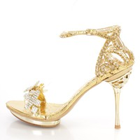 Gold Rhinestone Strappy High Heels Metallic Faux Leather