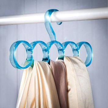 Clear Scarf Hanger Hangers Save Space Closet Organizer 5 Ring Hole Round Tie European Simple Clothes Scarves Storage Rack Cloth