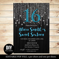 Sweet sixteen birthday invitations templates in colors black and turquoise - Turquoise sweet sixteen invitations - #DPI1256