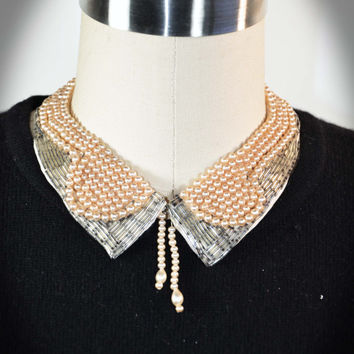 Vintage Faux Pearl Beaded Collar Necklace Choker 1950s Preppy Sorority Girl Sweater Collar