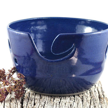 Ceramic Yarn Bowl Cobalt Blue Handmade Pottery Gift for Knitters Crochet Knitting & Knitting Organizer by DeeDeeDeesigns