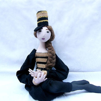 OOAK art doll Soft Sculpture jointed handmade handpainted  cloth doll elegant  handsewn dress,