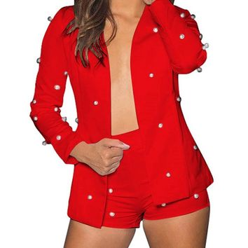 Sexy Women Embellished Pearl Blazer Set Two Piece Outfits Long Sleeve OL Work Wear Short Overalls Tracksuits