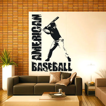 rvz947 Wall Vinyl Sticker Decals Decor Bedroom American Baseball Sport Boy