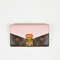 "Louis Vuitton Brown & Pink Monogram Canvas & Leather Kisslock ""Pallas"" Wallet"