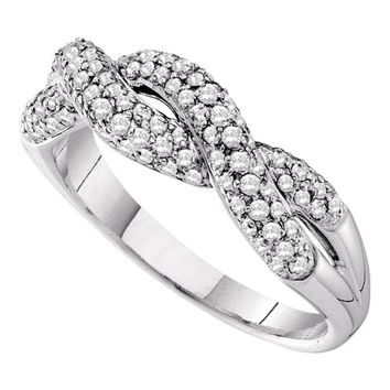 14kt White Gold Womens Round Diamond Woven Twist Crossover Band Ring 1/2 Cttw