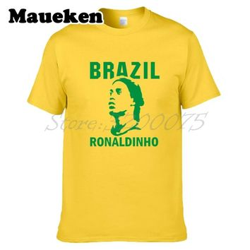 Men Ronaldinho 10 Ronaldo de Assis Moreira ac barcelona milan Brazil Legend T-shirt Clothes T Shirt Men's tshirt tee W17112101