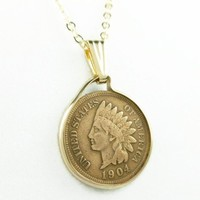 1904 Indian Head Penny Coin Pendant 14 kt Gold Filled with Chain Coin jewelry
