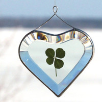 Beveled Glass Heart Ornament Suncatcher with a Genuine Four Leaf Clover
