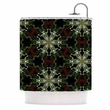 "Gukuuki ""Mandala Lights"" Black Abstract Shower Curtain"