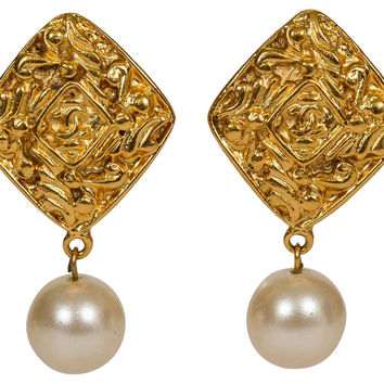 Chanel Diamond Faux-Pearl Drop Earrings
