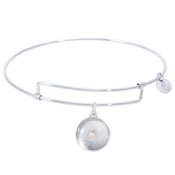 Sterling Silver Pure Bangle Bracelet With Mustard Seed Charm