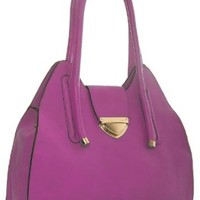 MA_L30064 Large Plain Semi Rigid Tote Shoulder Bag (Magenta Pink)
