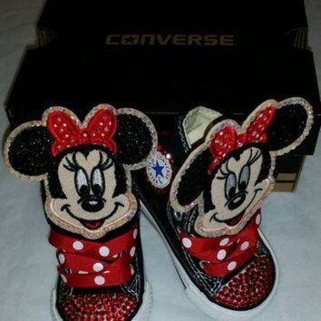 CREYUG7 Girls Bling Custom Converse Sneakers- Minnie Mouse- Hello Kitty- Frozen- Emoji's- The