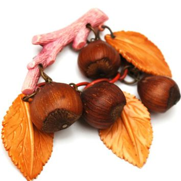 Celluloid Leaf Acorn brooch - Early 1940s style  - dangle orange leaves - real  acorns  - brass bead  pink branch   vintage plastic  pin