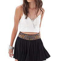 FOREVER 21 Eclectic Embroidered Skirt Black
