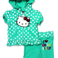 INFANT GIRLS' I LOVE HELLO KITTY SHORT SLEEVE POLKA DOT HOODIE & PANT | Paper Kranes