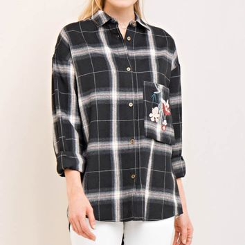 Check Print Floral Embroidery Button-Down Shirt