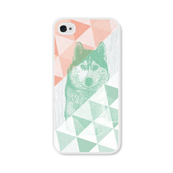Geometric Phone Case - Peach Mint GreenWolf Geometric iPhone 4 / 4s - 5 / 5s - 5c Case - Coral iPhone 5c Case - iPhone 5 Case - iPhone 4s