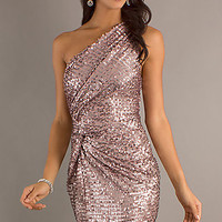 Short Sequin One Shoulder Pink Dress