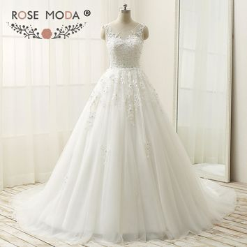 Rose Moda Lace Ball Gown Plus Size Cap Sleeves Princess Crystal Wedding Dress Lace Up Back 50cm Train