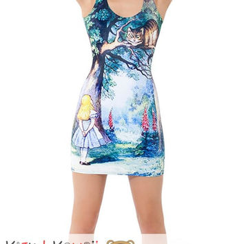 New Happy Cat and Girl Sleeveless Shirt Spring and Summer Long Fitted Dress KK680