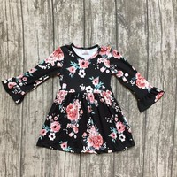 baby girls fall dress clothing children floral dress kids children Fall black floral dress girls boutique Fall dress clothing