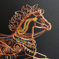 Carousel Pony Copper Wire Sculpture