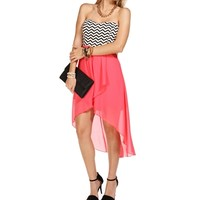 SALE-Coral Chevron Hi Lo Dress