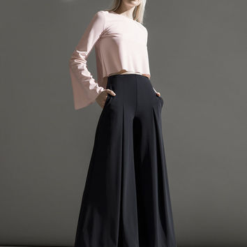 Ankle Length Culotte Pants in Black