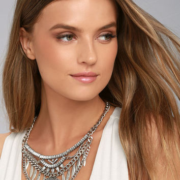 Delight and Dazzle Silver Rhinestone Statement Necklace