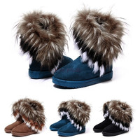 Women Fashion  Winter Fox Rabbit Fur Tassel Suede Snow Real Leather Boots 9125 Women's shoes = 1645864580