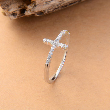 1pcs free shipping 2015 cross silver rings,925 silver rings factory,new 925 cross rings,free shipping Jewelry