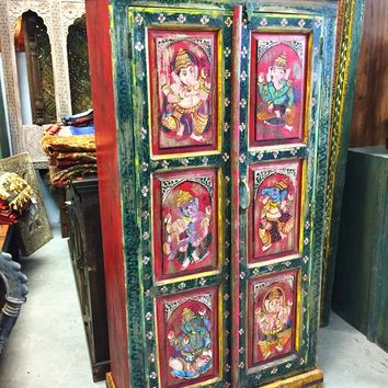 Indian Cabinet Storage Armoire Furniture Vintage Antique Jodhpur Hand Painted Ganesha
