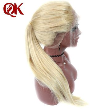 QueenKing hair Full Lace Wig 180% Density Blonde 613 Silky Straight Preplucked Hairline 100% Brazilian Human Remy Hair