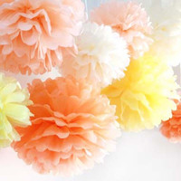 10 Mixed Size Tissue Paper Pom Pom Ready To Ship Package | Shades of Summertime | Wedding Party Decor