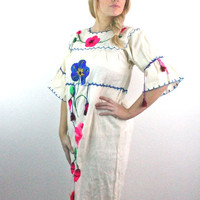 60's Mexican Embroidered Boho Dress S/M