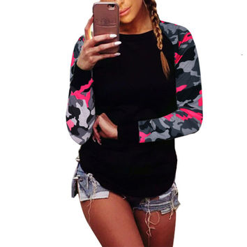 Autumn 2017 Patchwork Long Sleeve Army Camouflage T Shirt Women Tops Fashion Crew Round Neck tshirt Women T-Shirts Tops Tees