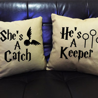 "Harry Potter ""She's A Catch & He's A Keeper Throw Pillow cover,Mr and Mrs,Wedding gift,Family pillow cover cotton canvas pillow cover set"