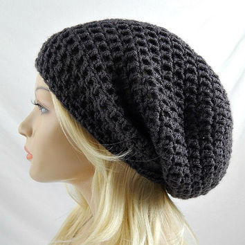Dark Grey Slouchy Beanie, Womens Crochet Slouchy Hat, Slouchy Winter Hat, Dark Grey Crochet Beanie, Dark Grey Crochet Hat, Extra Slouchy