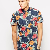 Short Sleeve Shirt With Large Hawaiian Floral Print