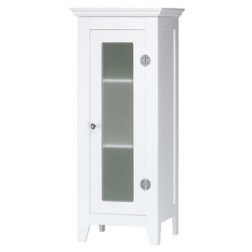 Bathroom Floor Cabinet White, Elegant Decorative Glass Display Storage Cabinets