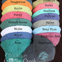 Monogrammed Baseball Cap for Ladies - Pigment Dyed